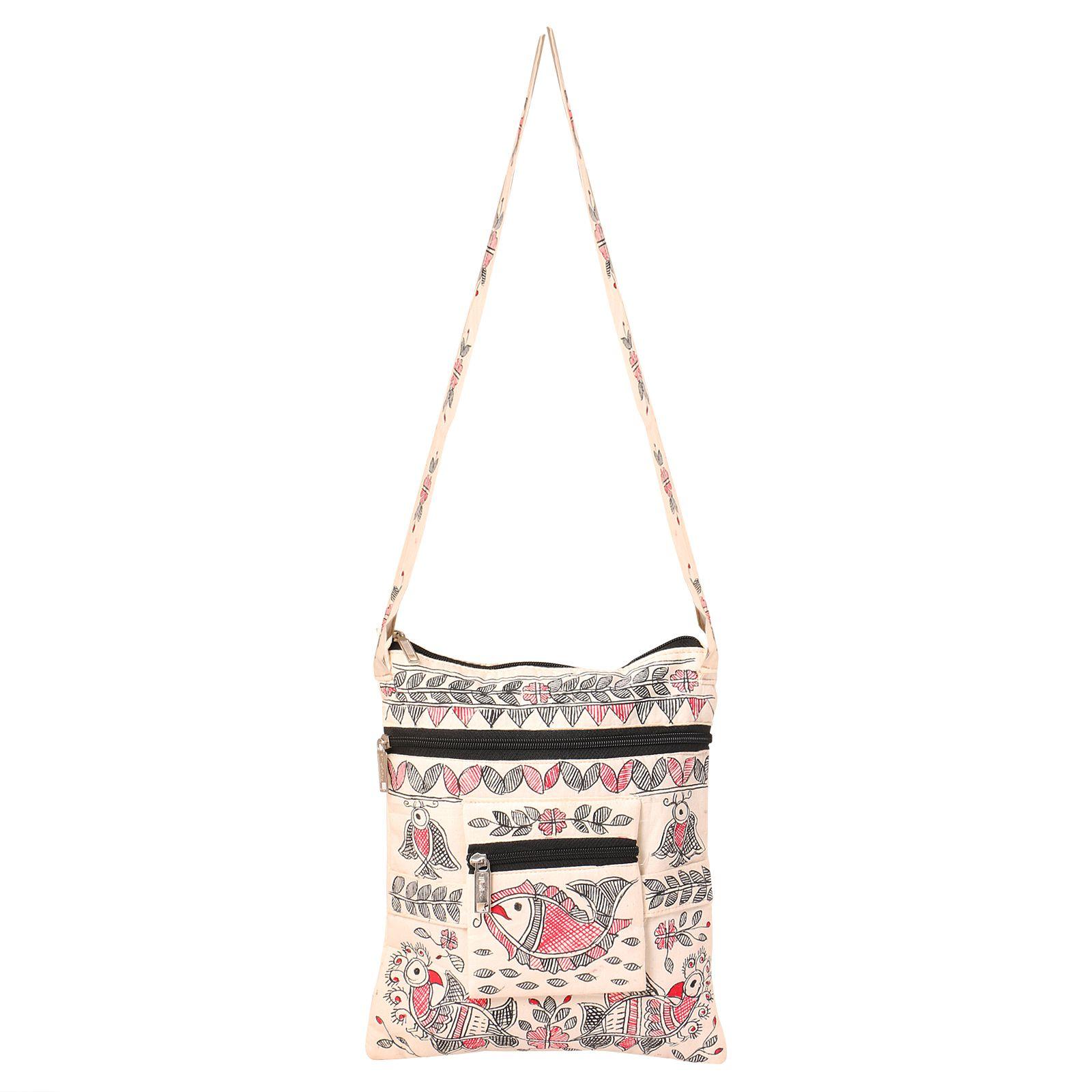 Imithila White Cotton Sling Bag