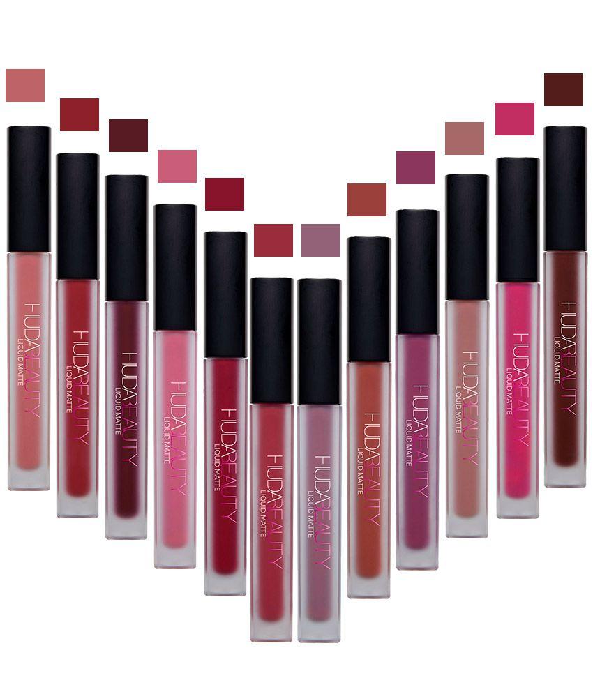Huda Beauty Matte Liquid Lipstick Set Of 12 Shades: Buy ...