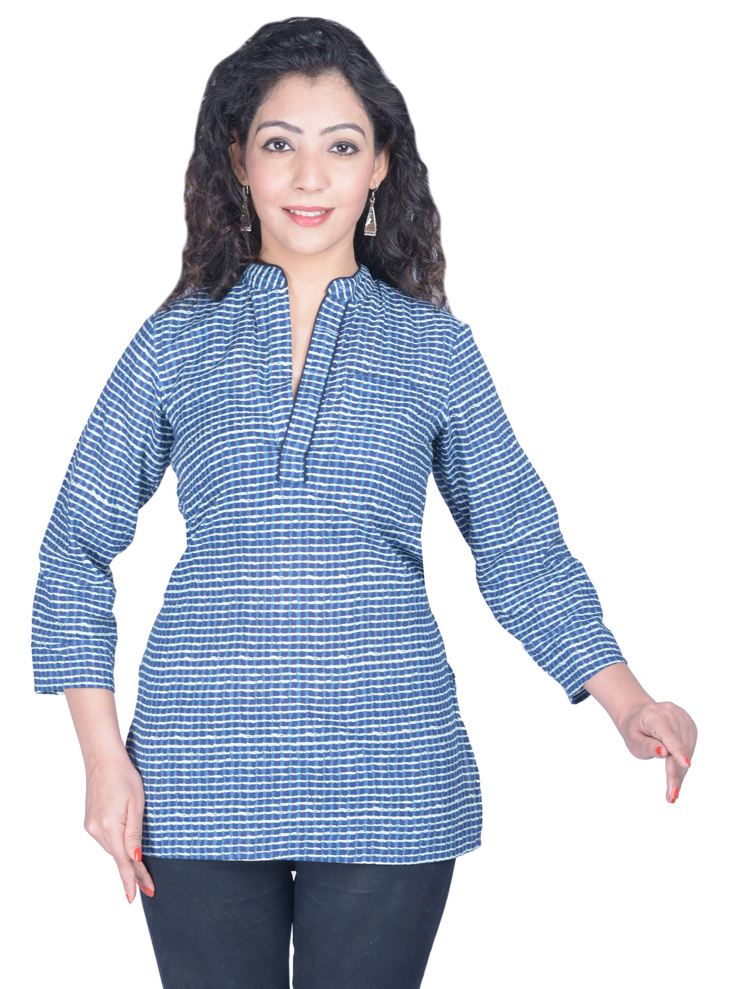 Sakhi Blue Cotton Princess cut Kurti
