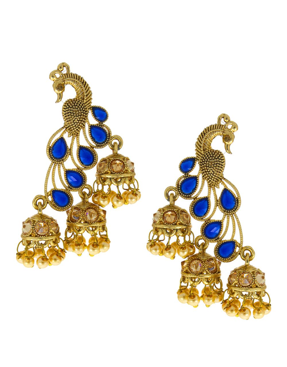 Anuradha Art Blue Colour Styled With Peacock Inspired Beautiful Designer Traditional Jhumki/Jhumkas Earrings For Women/Girls