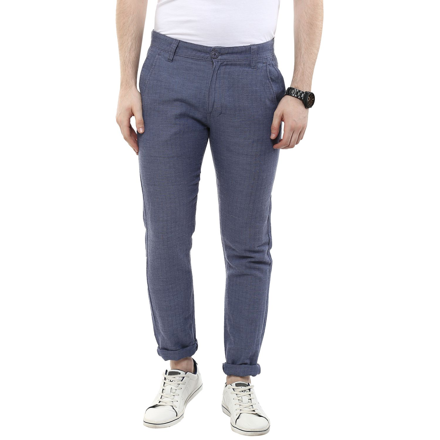 Wear Your Mind Grey Regular -Fit Flat Chinos