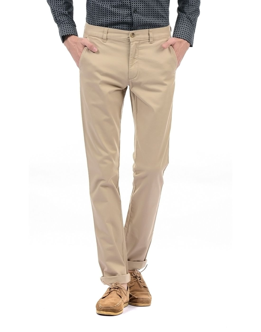 Arrow Sport Beige Slim -Fit Flat Trousers