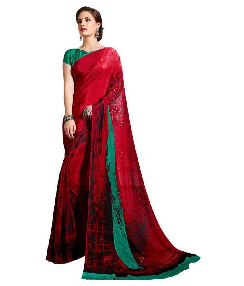 Kumaran Silks Red Chiffon Saree