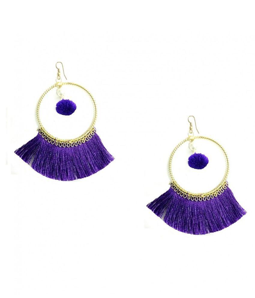 Turqueesa Round Circle Hoop Style Tassel Earrings - Purple