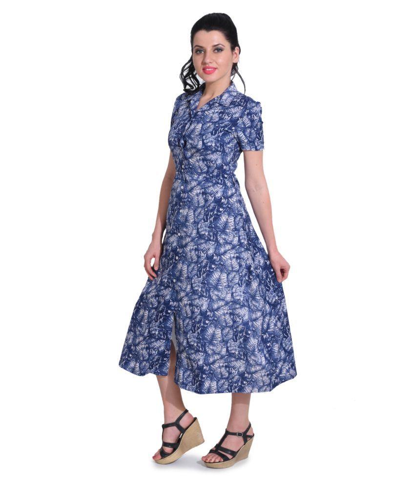 FIVE-STONES Polyester Blue Dresses