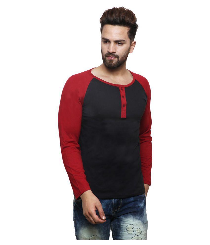 X-CROSS Black Henley T-Shirt Pack of 1