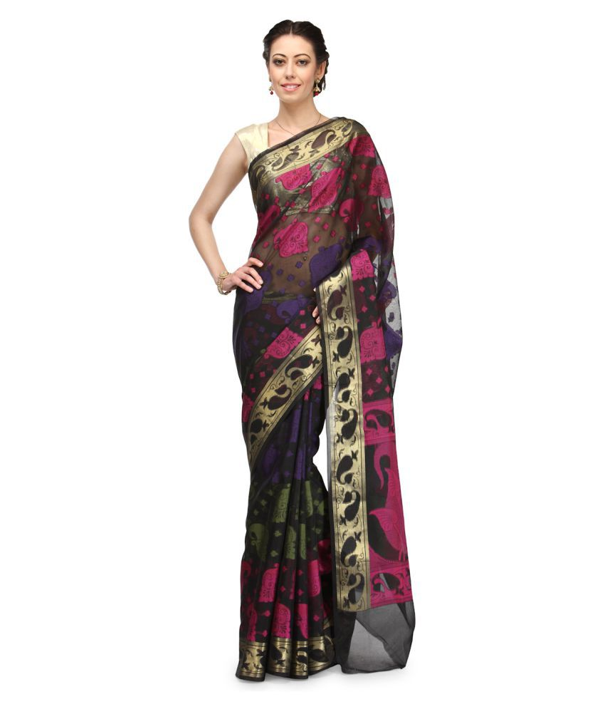 Bunkar Grey Cotton Saree