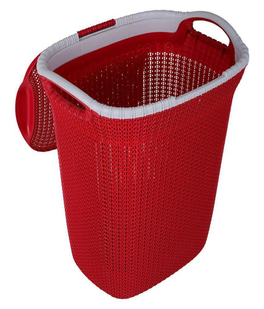 Nayasa Red Plastic Laundry Cloth Basket With Lid 40 Liters