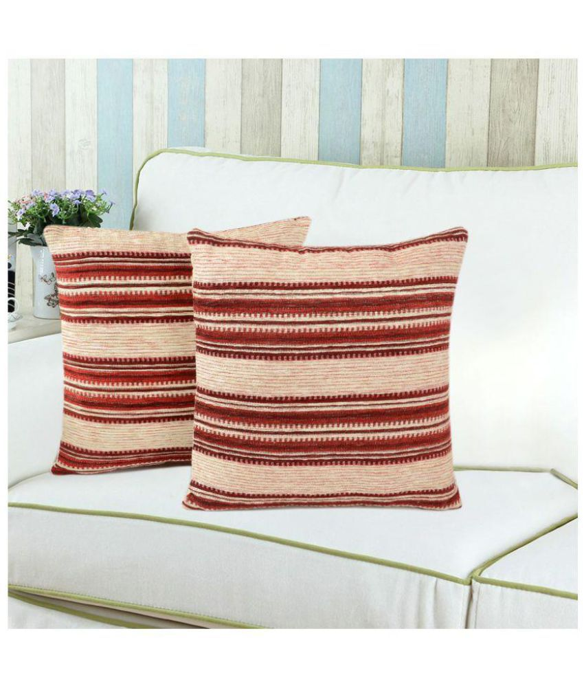 Saral Home Set of 2 Micro Fabric Cushion Covers 40X40 cm (16X16)