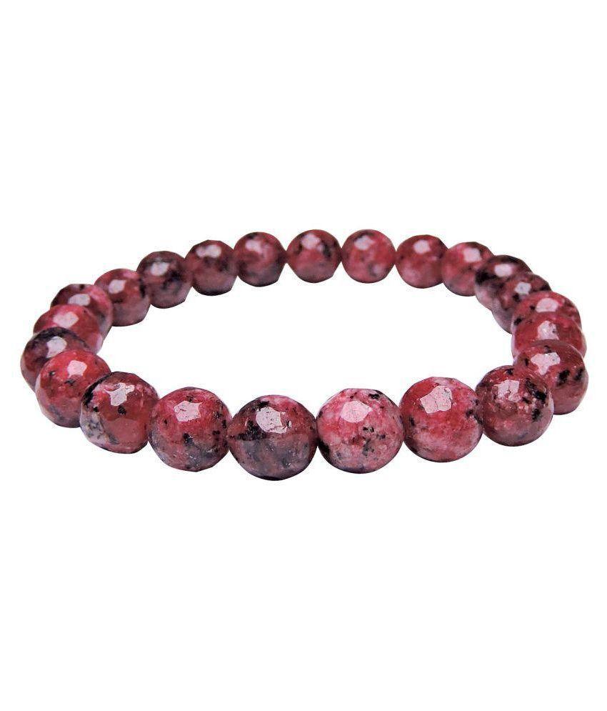 Satyamani Natural Ruby Matrix Faceted Bead Bracelet(8 mm)
