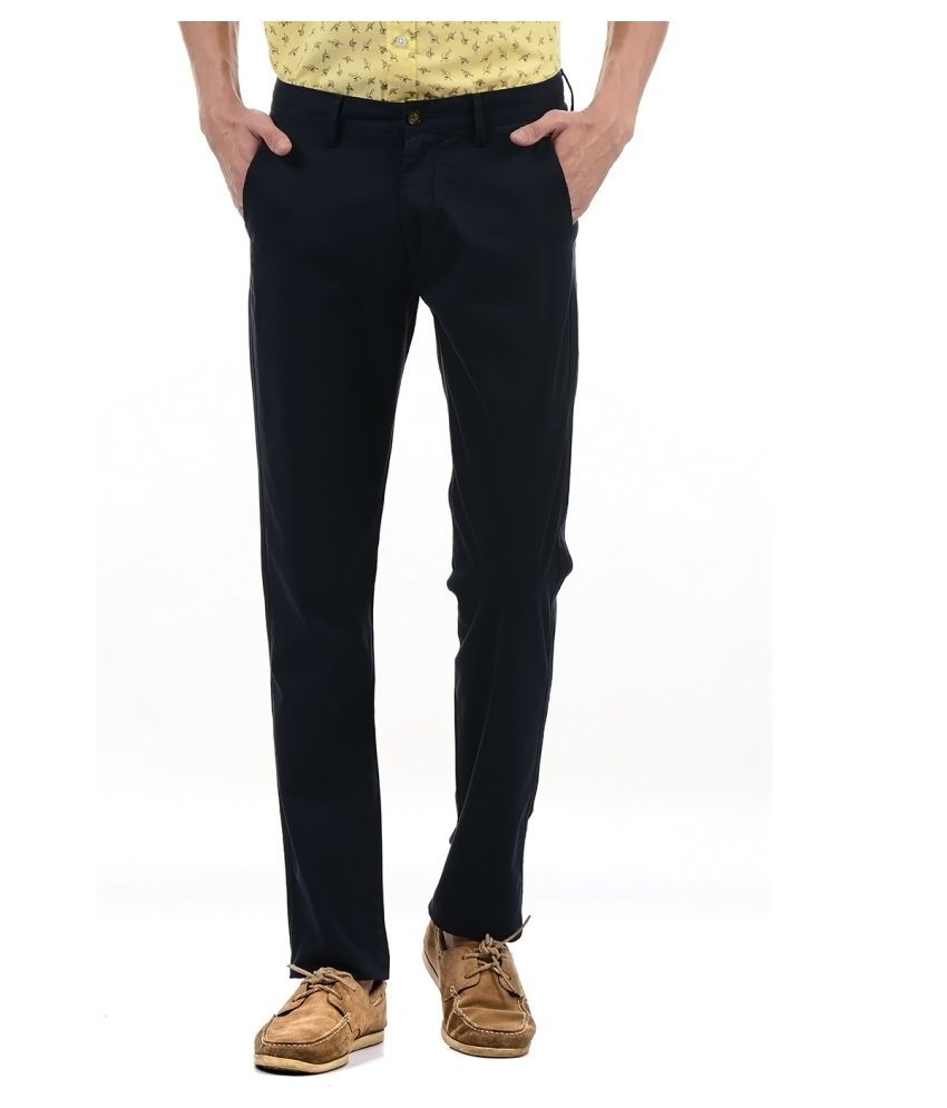 Arrow Sport Dark Blue Regular -Fit Flat Trousers