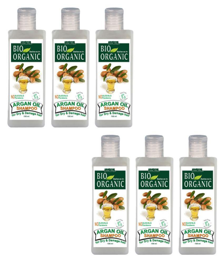 Indus Valley Bio Organic Argan Oil Shampoo For Strengthening the Hair Shaft Each Shampoo 100 mL Pack of 6