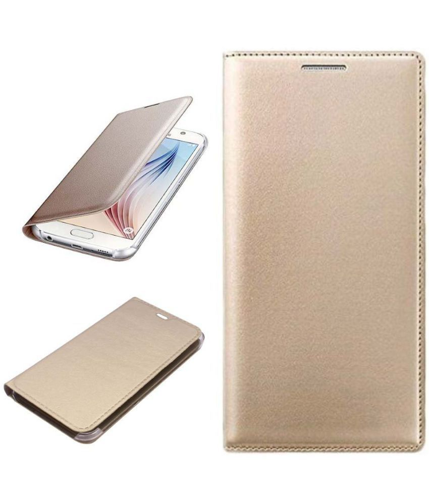 Vivo Y67 Flip Cover by MuditMobi - Golden