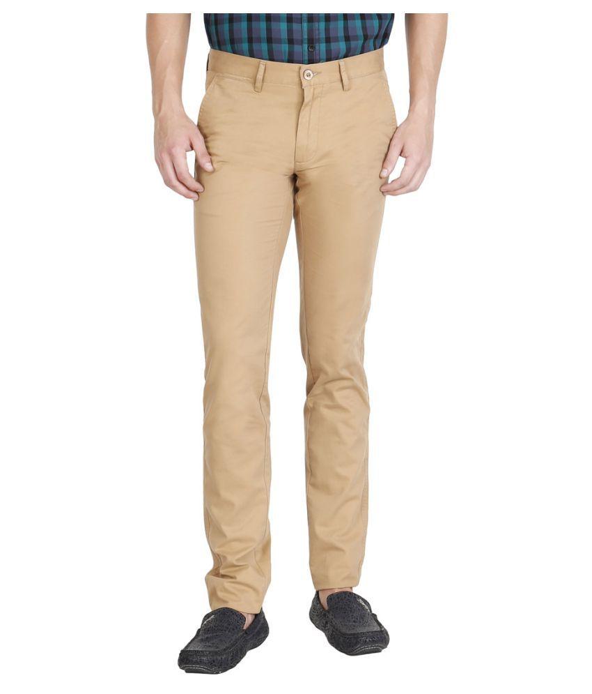 JDC Beige Regular -Fit Flat Trousers