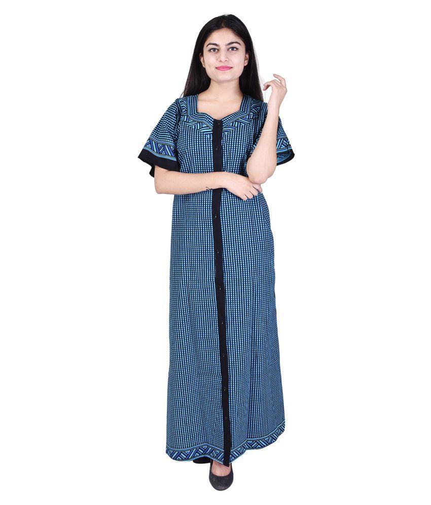 Silver Organisation Cotton Nighty & Night Gowns - Blue