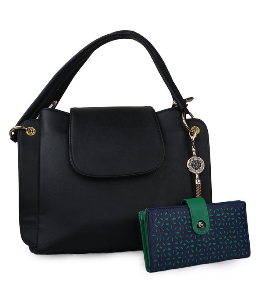 Glasy Black Faux Leather Sling Bag