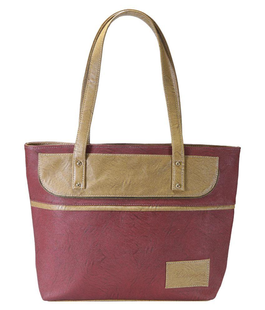 Desence Red Faux Leather Shoulder Bag