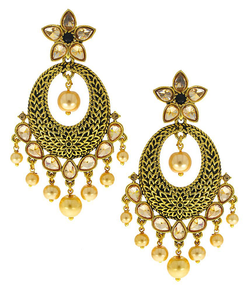Anuradha Art Black Colour Styled With Flawless Mina Work Classy Designer Traditional Earrings For Women/Girls