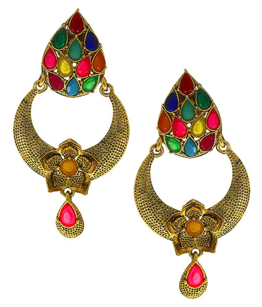 Anuradha Art Multi Colour Very Classy & Trendy Chandbali Styled Traditional Earrings For Women/Girls