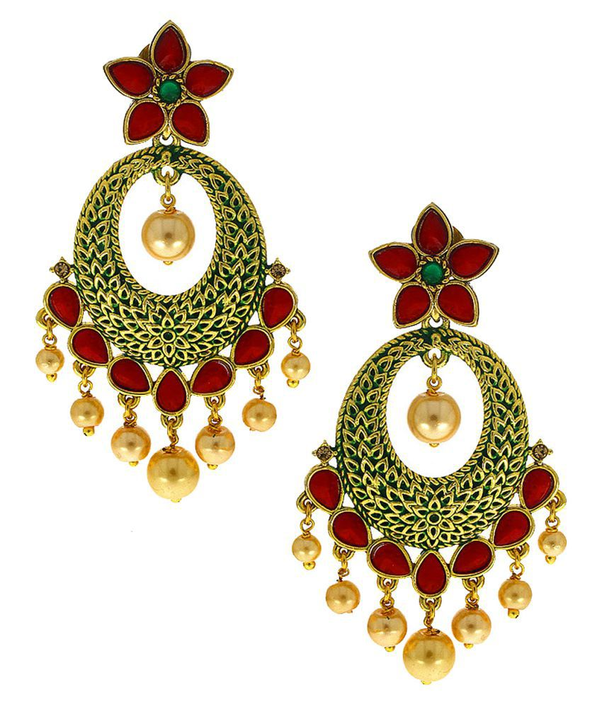 Anuradha Art Red-Green Colour Styled With Stones & Pearl Bead Droplet Designer Traditional Earrings For Women/Girls