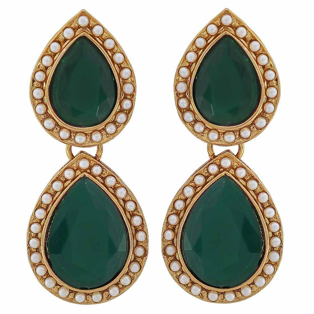 Maayra Wedding Earrings Alloy Dangler Drop Green Twin Drop Pearls Jewellery