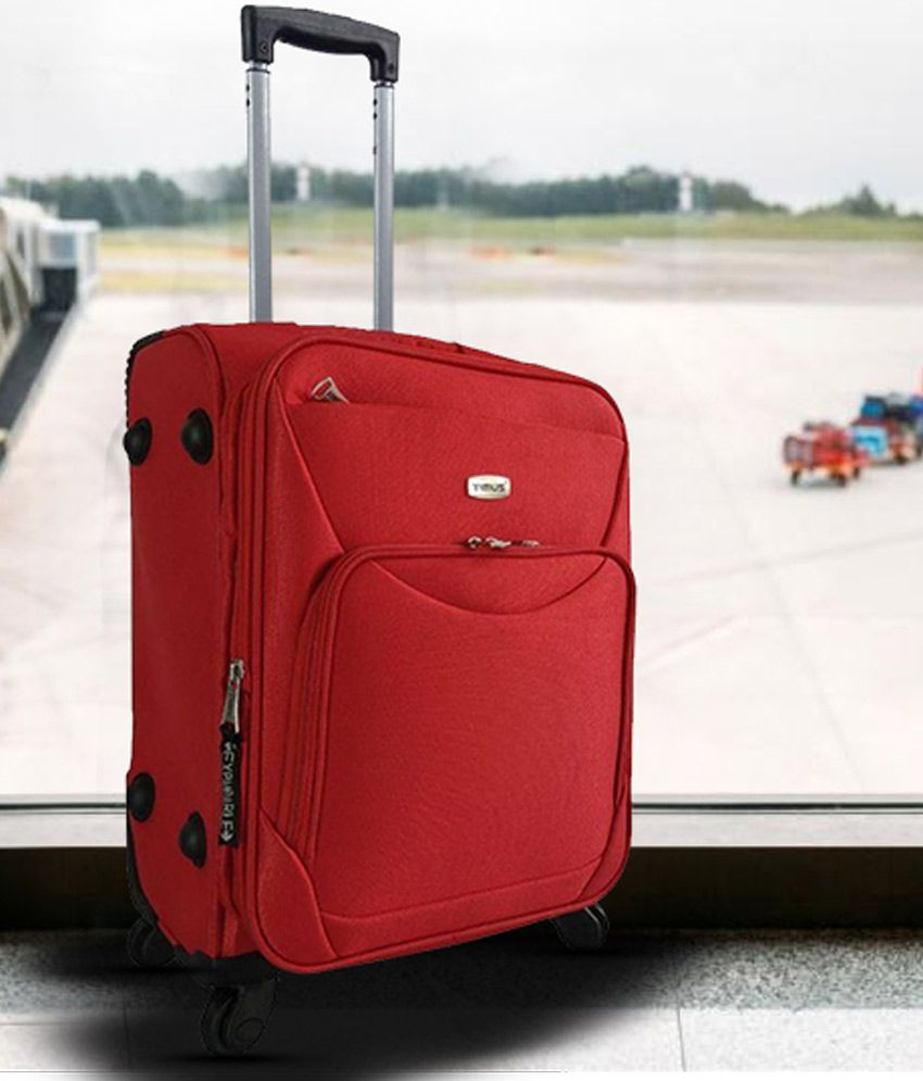 TIMUS UPBEAT SPINNER 55 CM RED 4 WHEEL STROLLEY SUITCASE FOR TRAVEL (SMALL CABIN LUGGAGE)