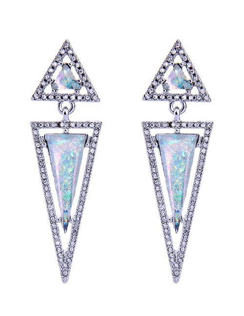 LOLstudio Elegant Silver Triangle Design Hollow Out Stud Earrings LOLF950