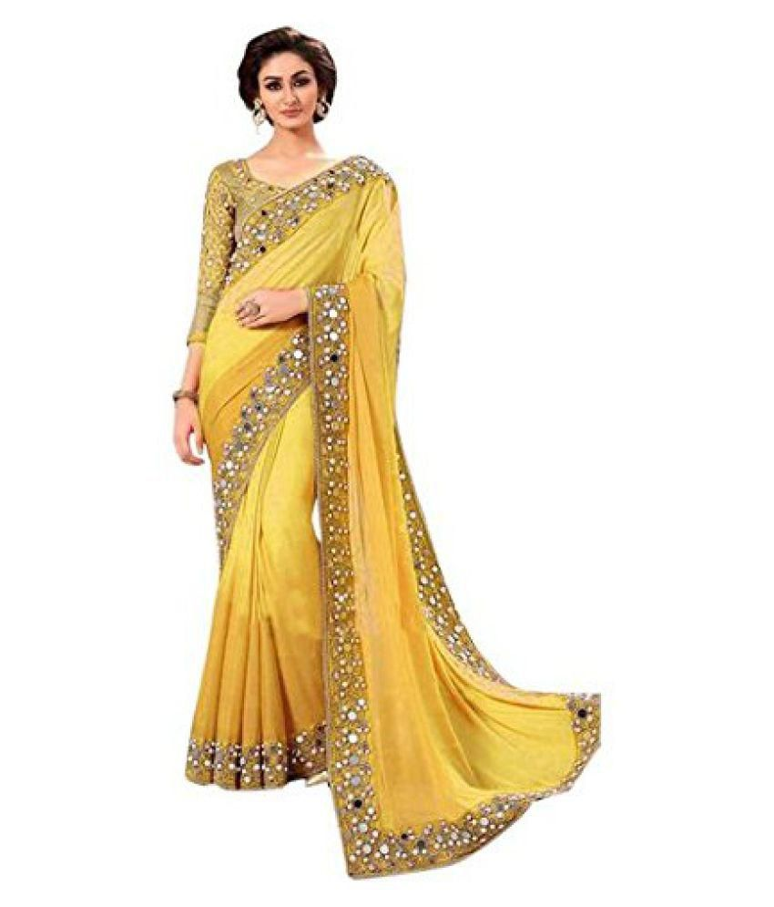 THE SUHAGIYA SHOPPING Yellow and Beige Georgette Saree
