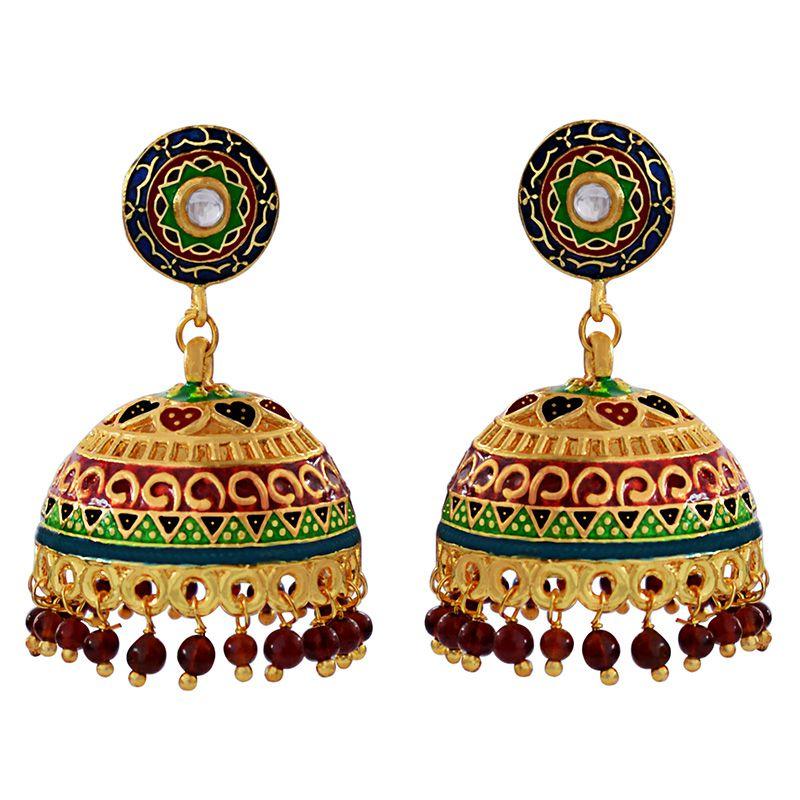 Traditional Meenakari gold plated brass tokri jhumki earring set-601
