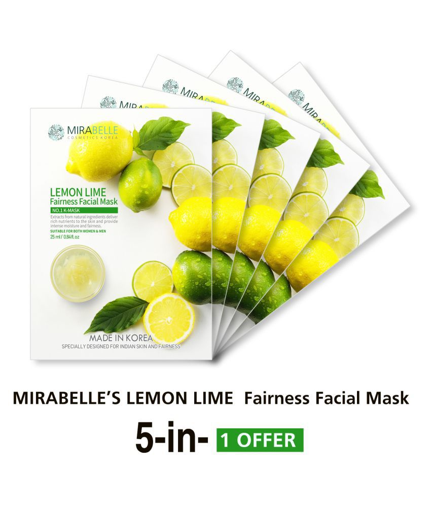 MIRABELLE KOREA Lemon Lime Fairness Face Mask Each 25 ml Pack of 5
