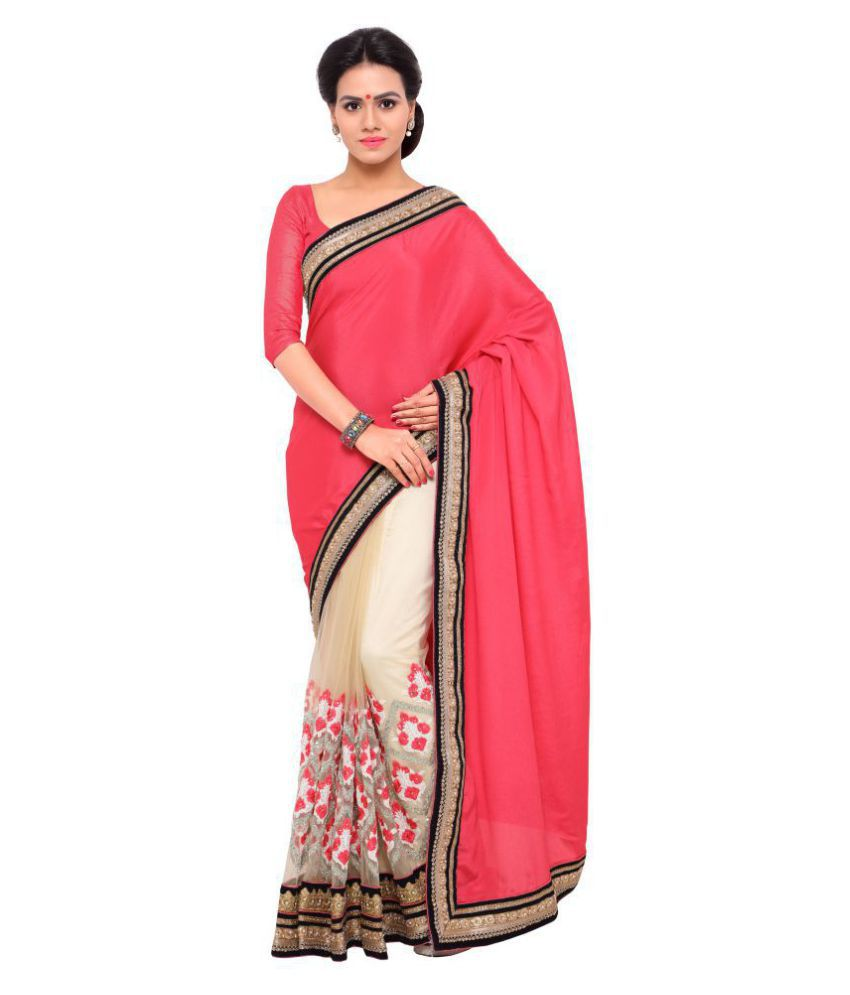Urban India Pink Chiffon Saree