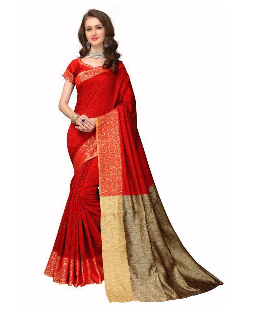 Urban India Red Banarasi Silk Saree