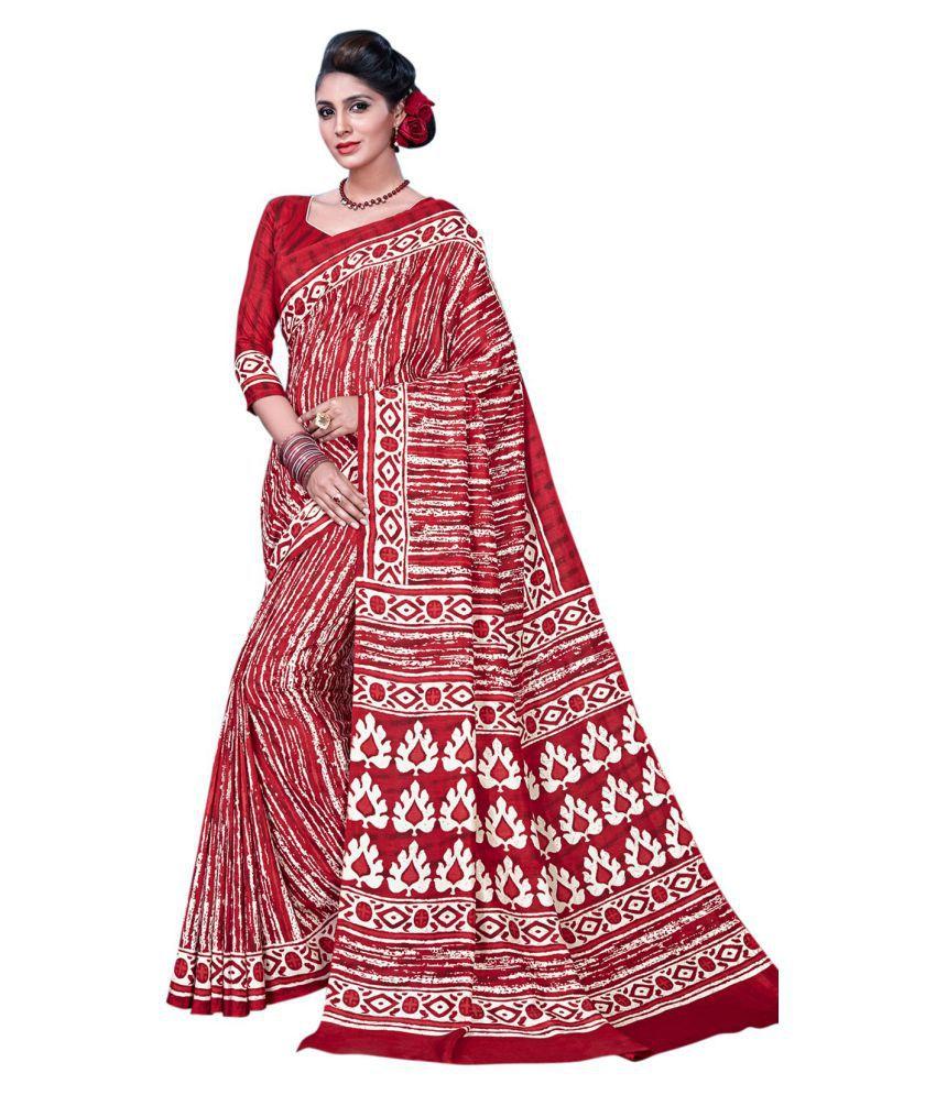 Urban India Red and Maroon Tussar Silk Saree