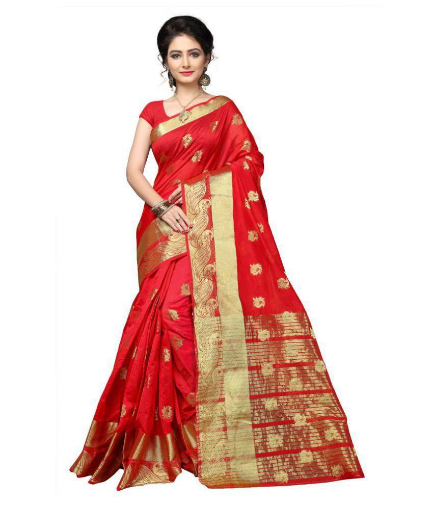 Urban India Red Cotton Silk Saree