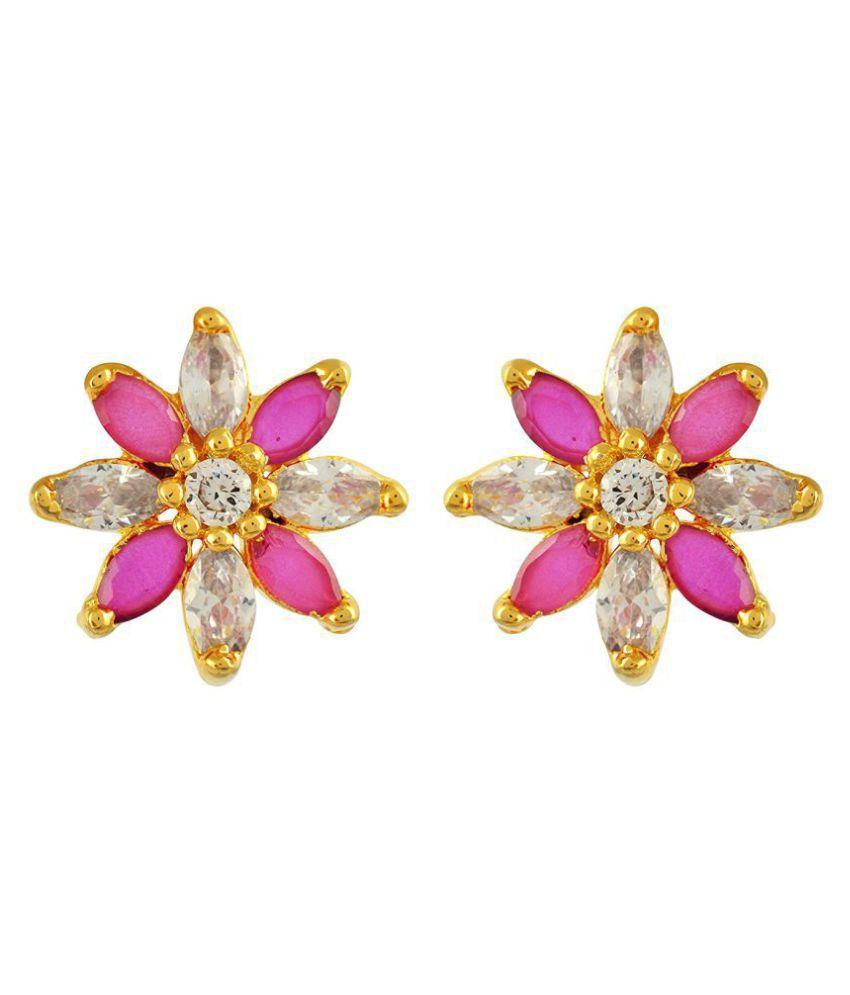 Fashion Fuzion Brass Golden Stud Earrings for Women
