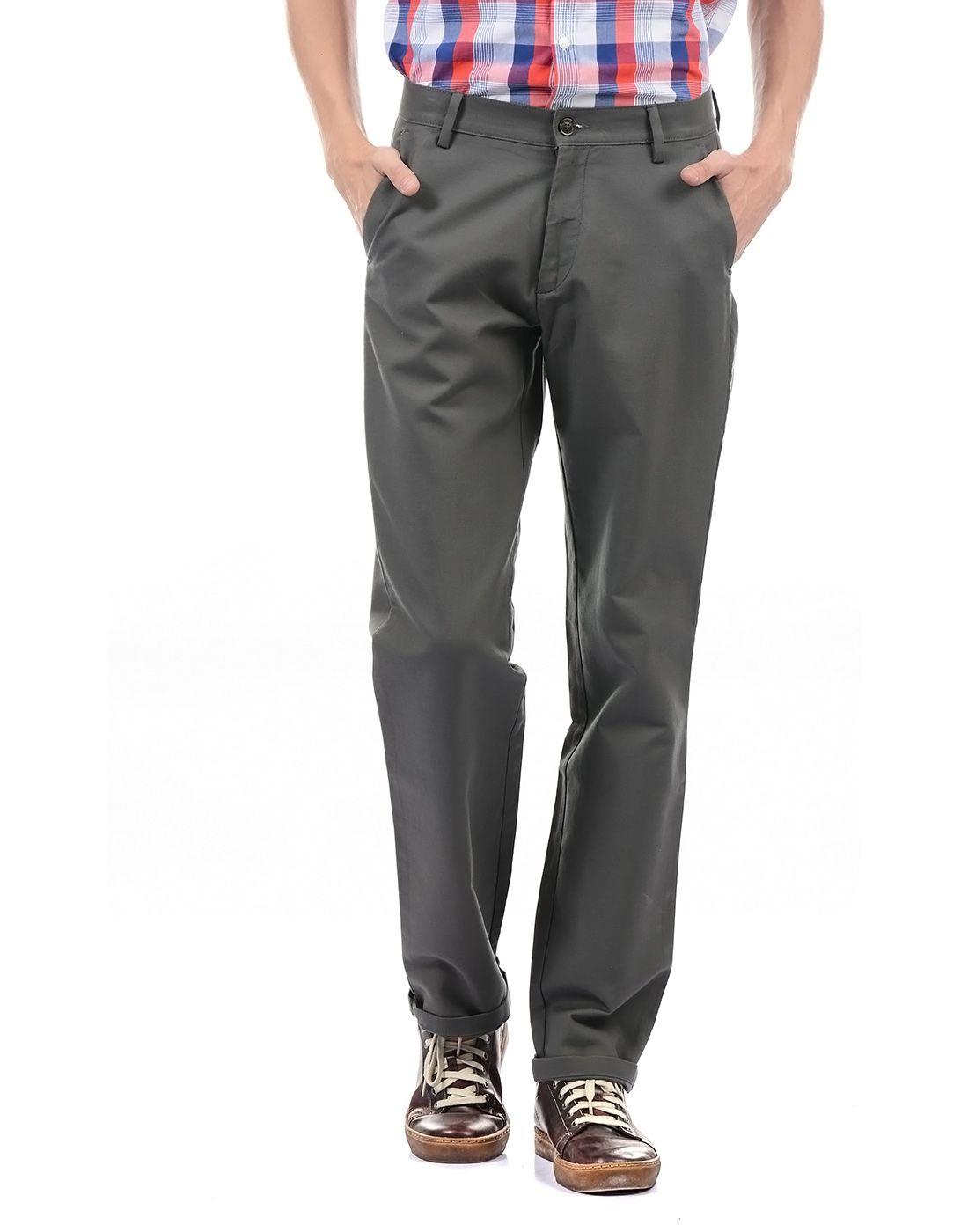 Arrow Sport Grey Regular -Fit Flat Trousers