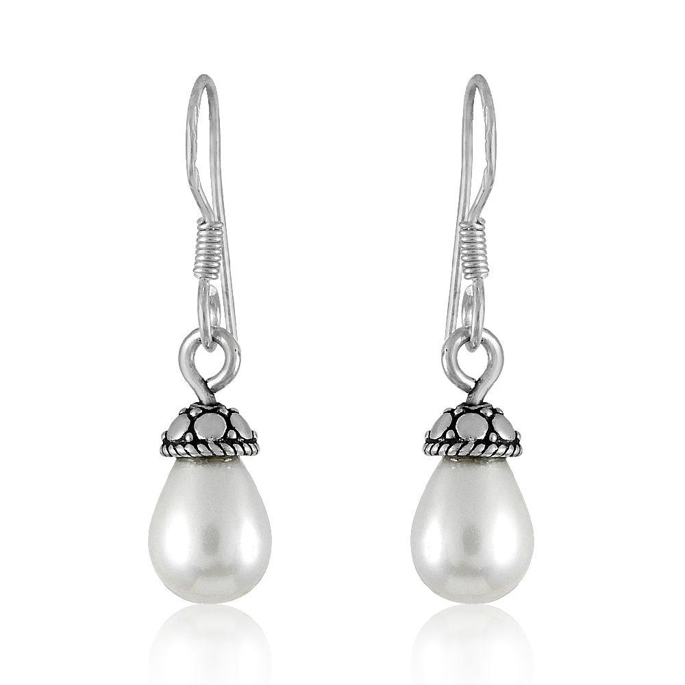 Miska Silver 92.5 Silver Pearl Drop Earrings