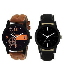 Maan International Black & Brown Leather Strap Analog Watch For Boys(Pack of 2)