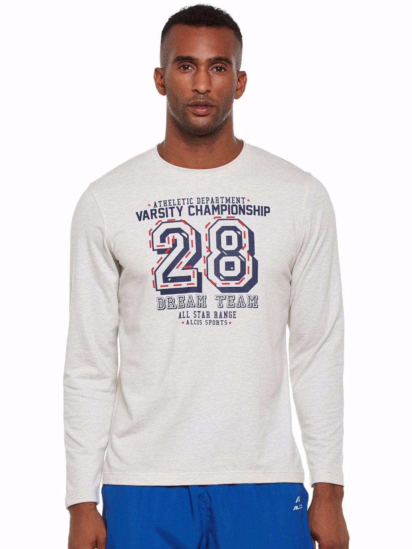 Alcis Men White Varsity Sweatshirt