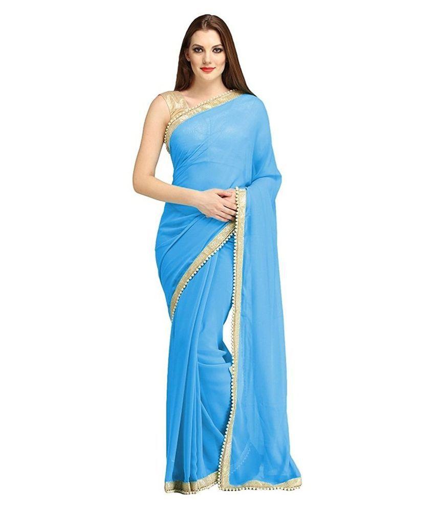 Dhyey Fashion Blue Chiffon Saree