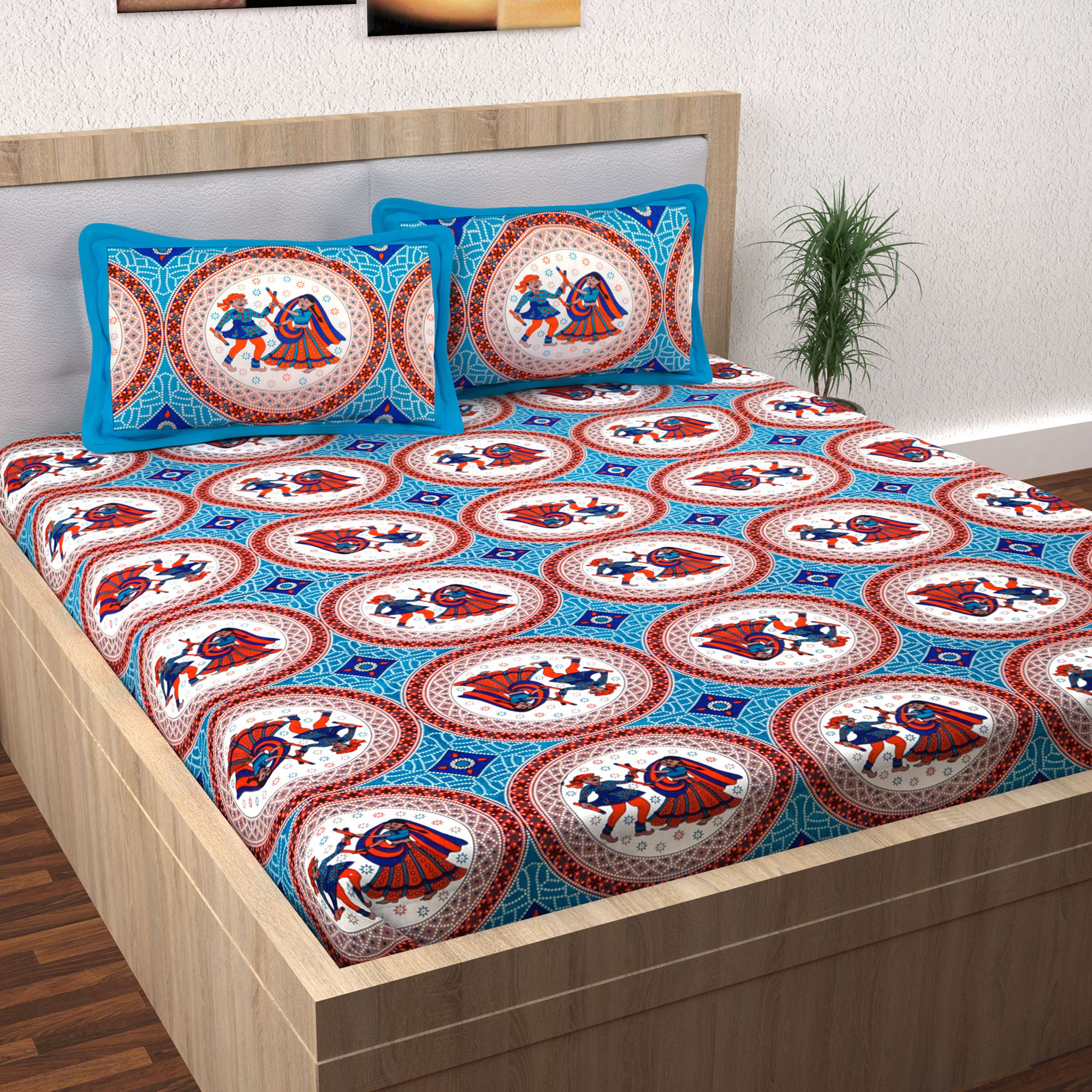 Story Home Cotton Kalamkari Double Bedsheet with 2 Pillow Covers