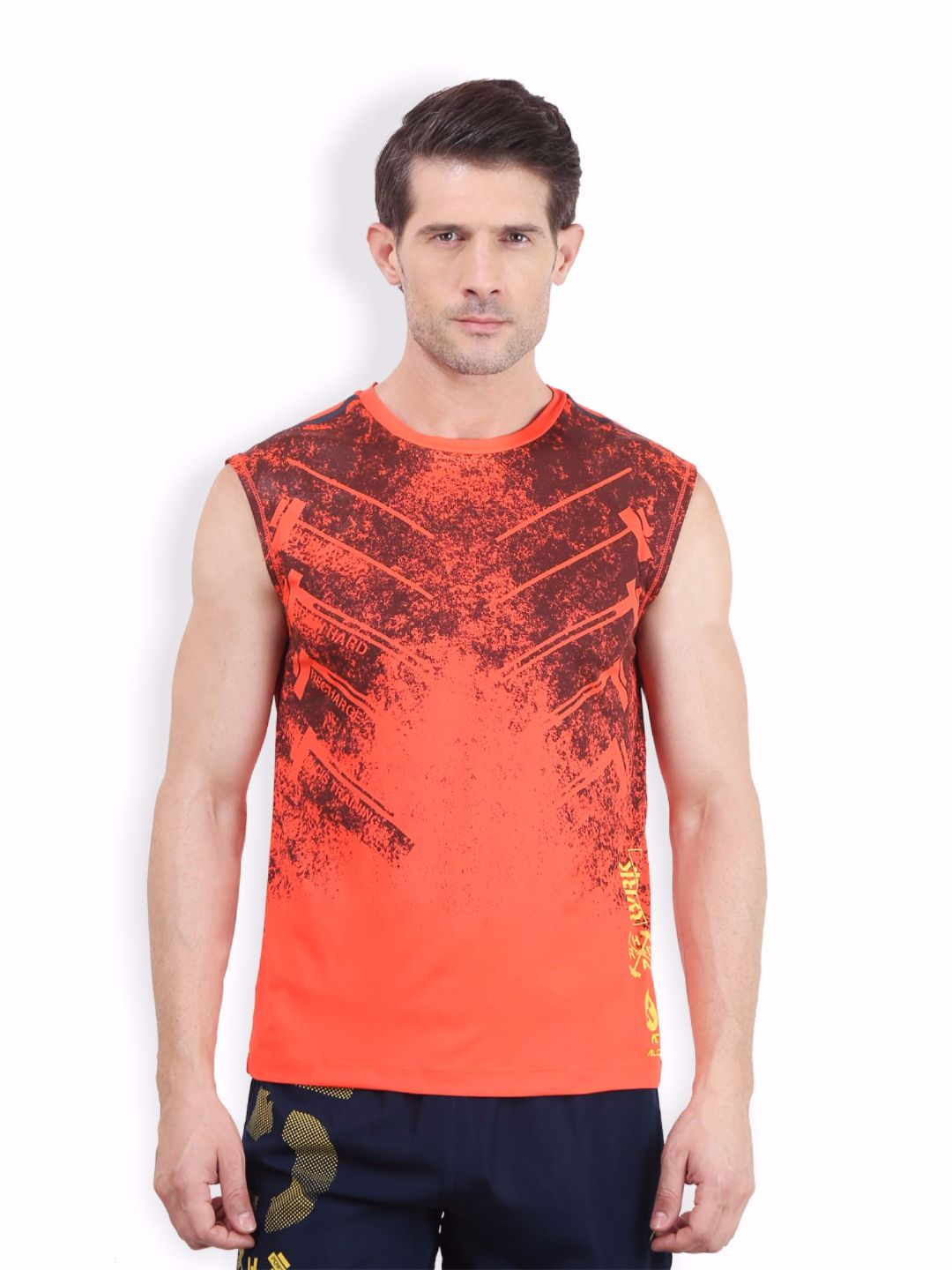 Alcis Men Orange Sleeveless Tee