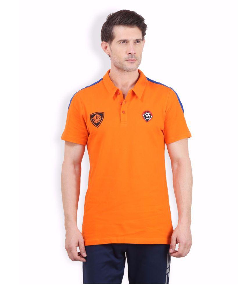 Alcis Men Orange Soccer Polo