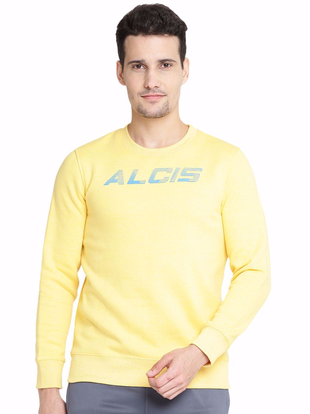 Alcis Men Yellow Printed Sweatshirt