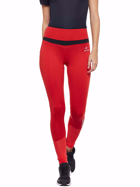 Alcis Women Red Mesh Leggings
