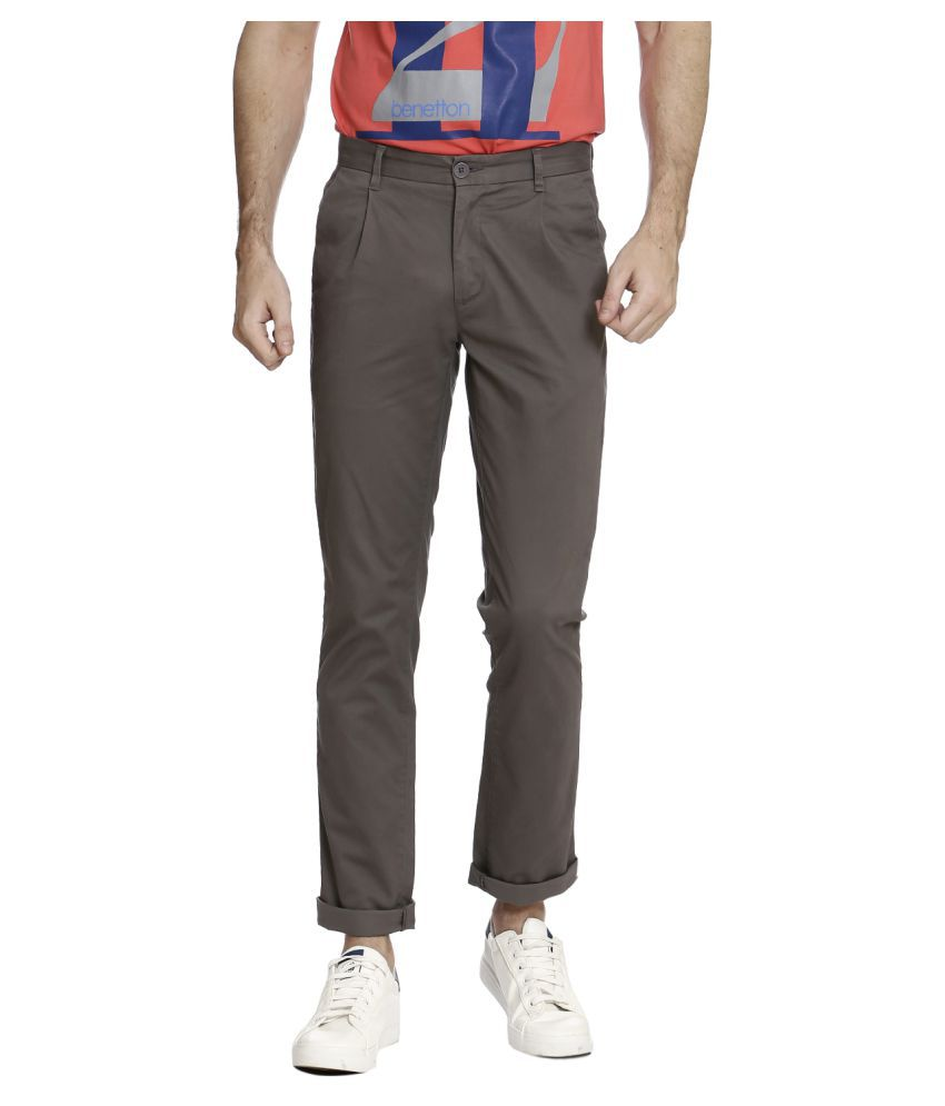 United Colors of Benetton Grey Slim -Fit Flat Trousers