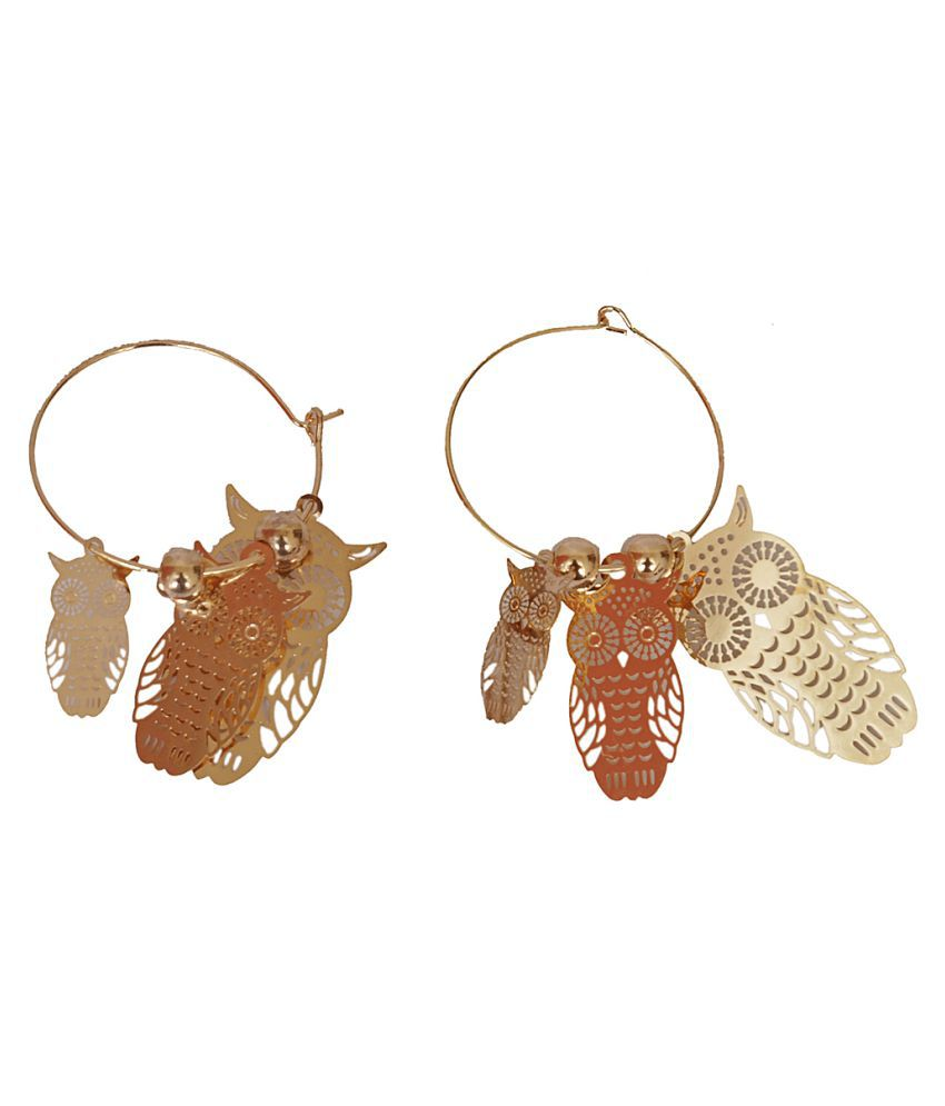 Designer Golden Owl Shape Dangler Earring