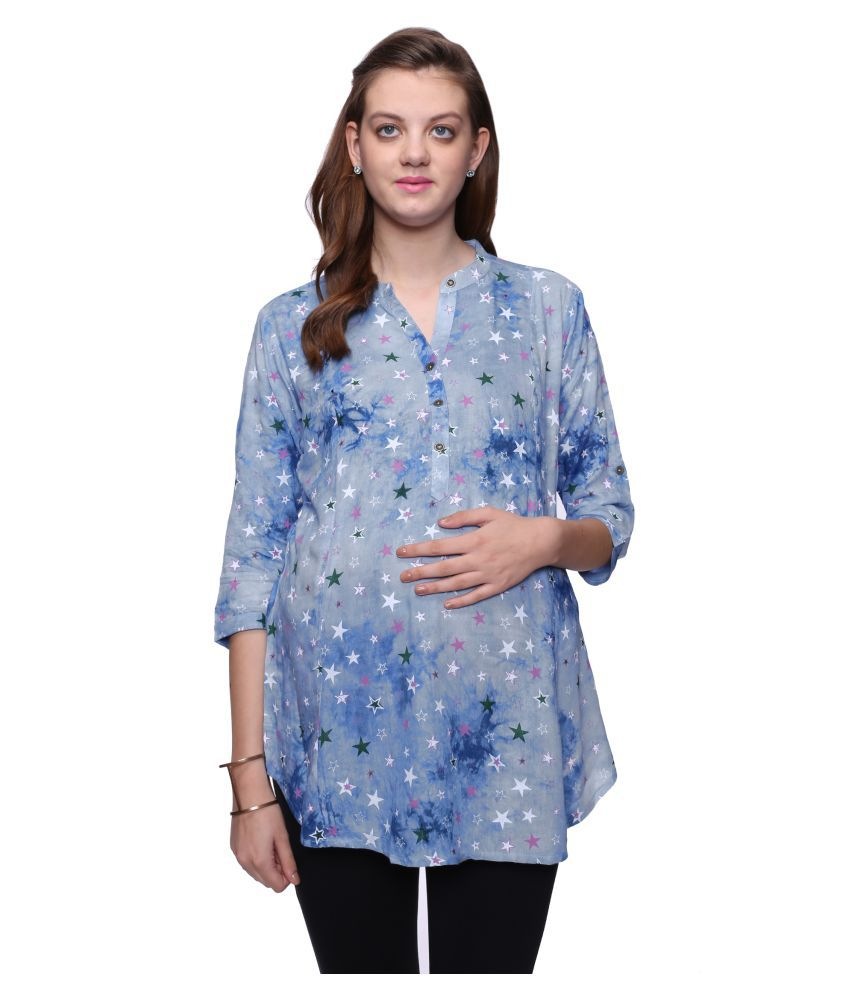 Mamma's Maternity Cotton Maternity Blue Tops