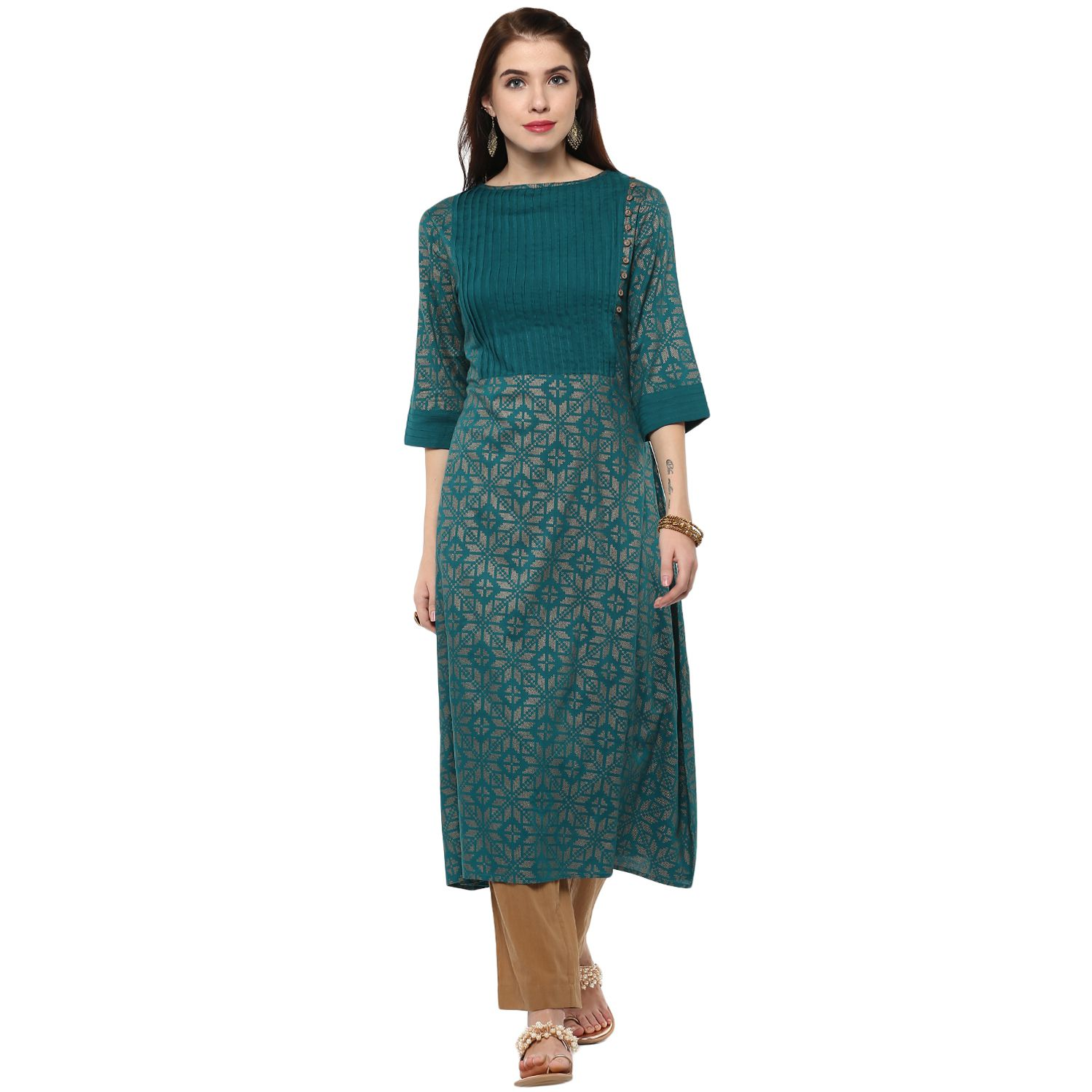 Street 9 Blue Viscose Straight Kurti