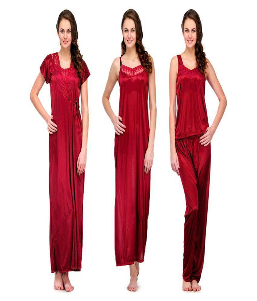 Buy fiena Satin Nighty   Night Gowns - Maroon Online at Best Prices in India  - Snapdeal c48a4a4f5